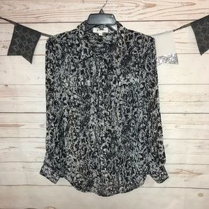 Two By Vince Camuto Printed Sheer Button Up Shirt